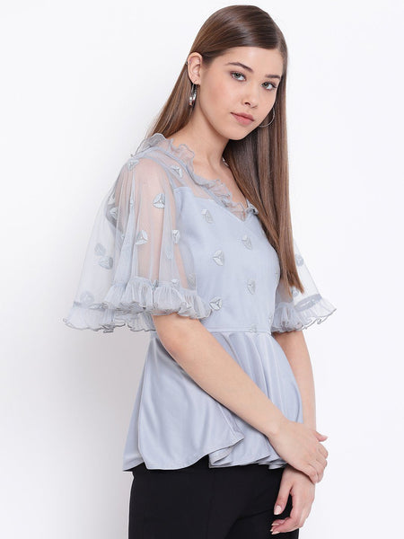 Texco Women Peplum Embroidered Lace Party Top - Fashiano