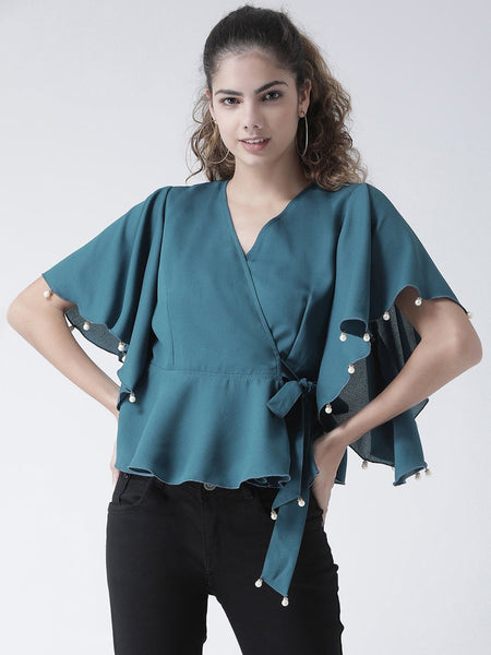 Texco Women  Embellished Wrap Top - Fashiano