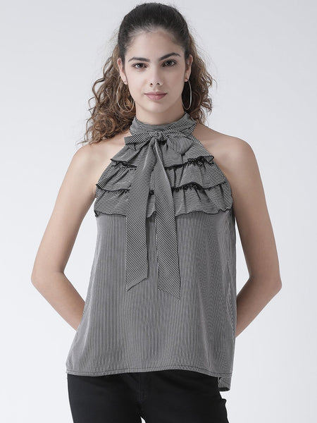 Texco Women Pin Striped Ruffled Detail Tie-Knot Top - Fashiano
