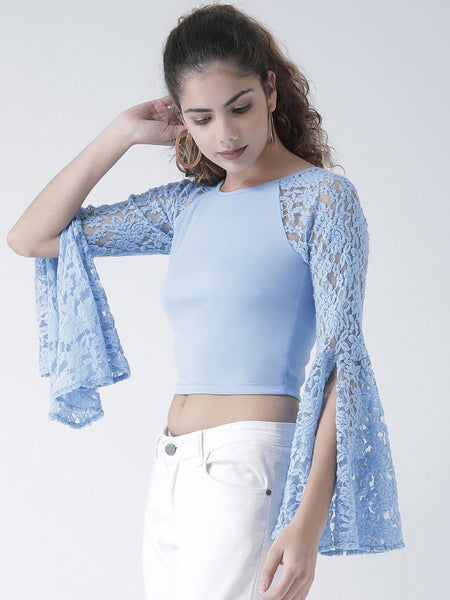 Texco Women  Lace Trendy Sleeve Styled Back Crop Top - Fashiano