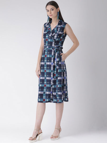 Texco Women  Checked Wrap Dress - Fashiano