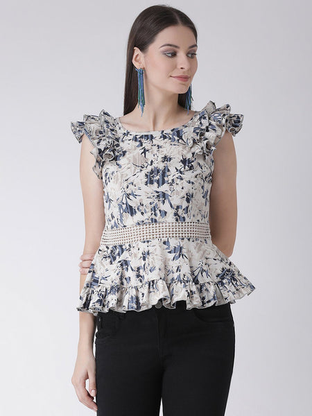 Texco Womens Ruffled and Lace detail Peplum Top - Fashiano