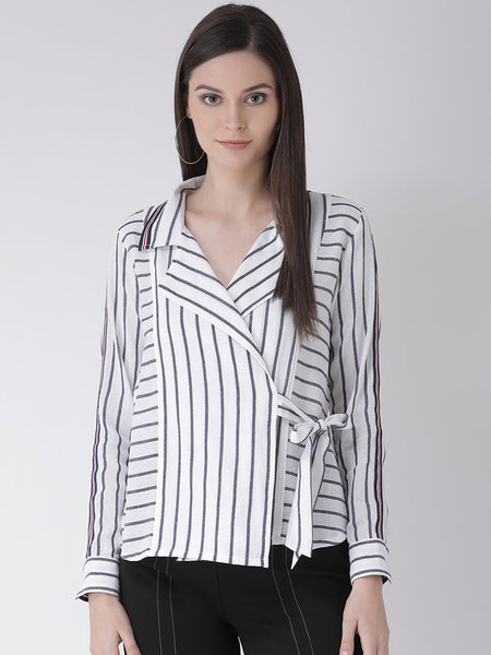 Texco Women  Striped Wrap Shirt - Fashiano