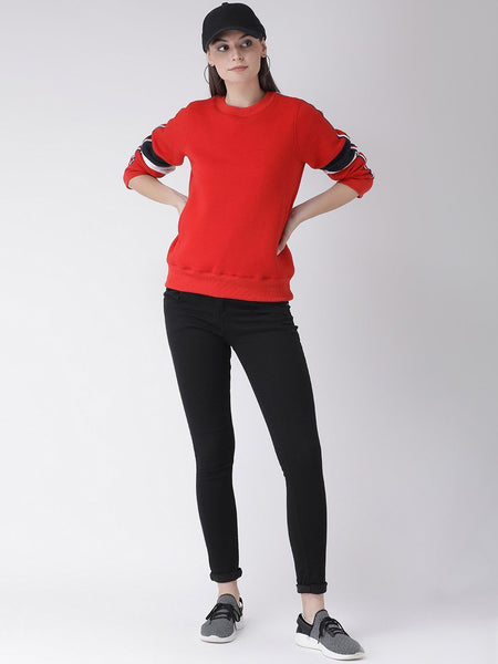 Sweat Shirts - Texco Women Red Sweatshirt