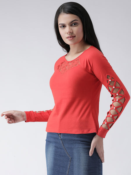 Texco Women  Cut-out full Sleeves Embellished detail Top - Fashiano