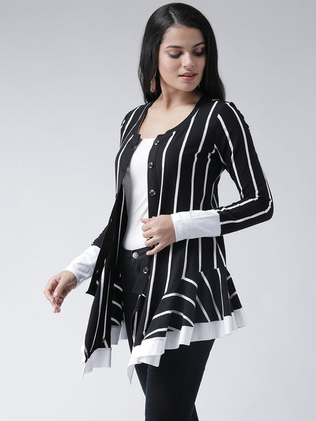 Texco Women  Striped Ruffled Detail Shrug - Fashiano