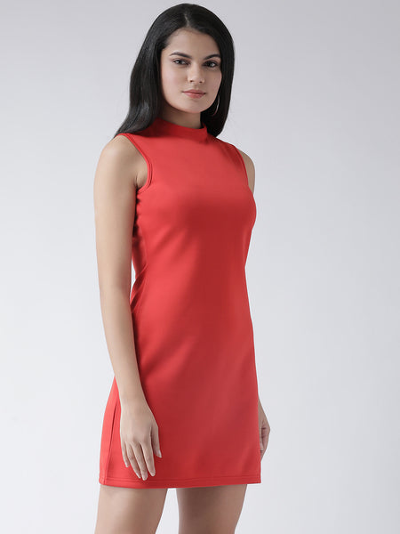 Texco Women  Mock Collar Shift Dress - Fashiano