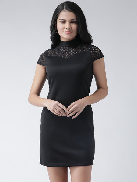 Texco Women  Mock Collar Shift Lace Dress - Fashiano