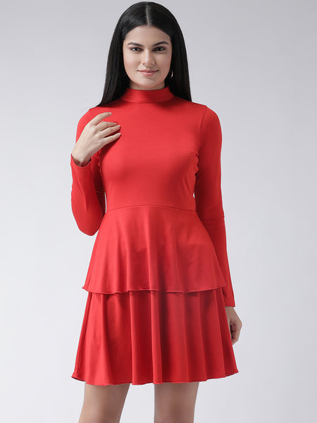 Texco Women  Band Collar Tiered Dress - Fashiano