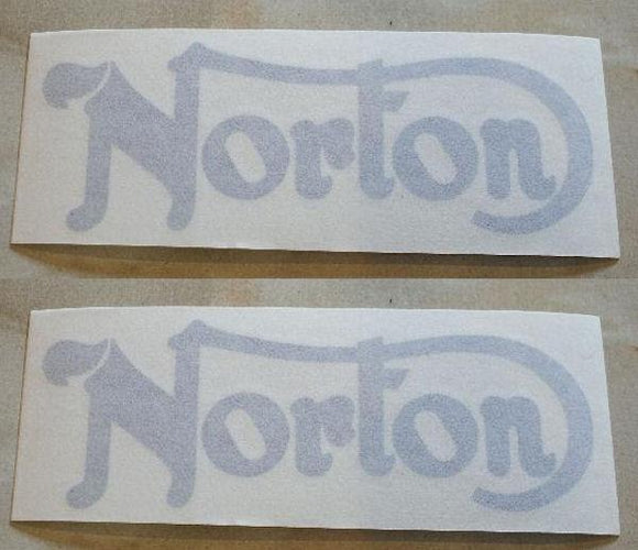 Norton Sticker for Tank (Commando 750/850), Silver /Pair