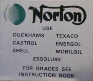 "Norton Decal ""Recomended Oil Brands"" Dryfix"