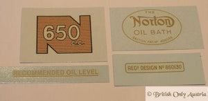 Norton Model 650cc 1961-63 Transfer Set