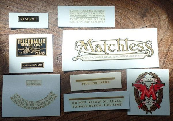 Matchless Transfer Set G80 1952