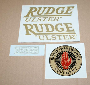 Rudge Ulster Transfer Set 1937/38