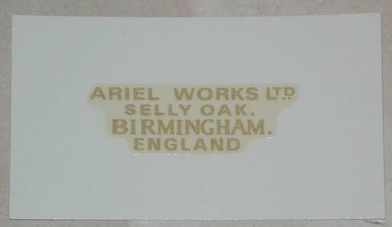 Ariel Works Ltd. Gold Transfer 1926/32