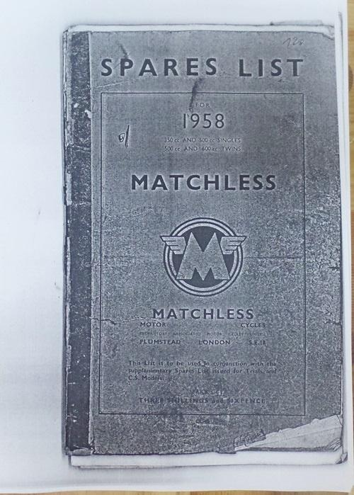 Matchless Spares List Copy 1958