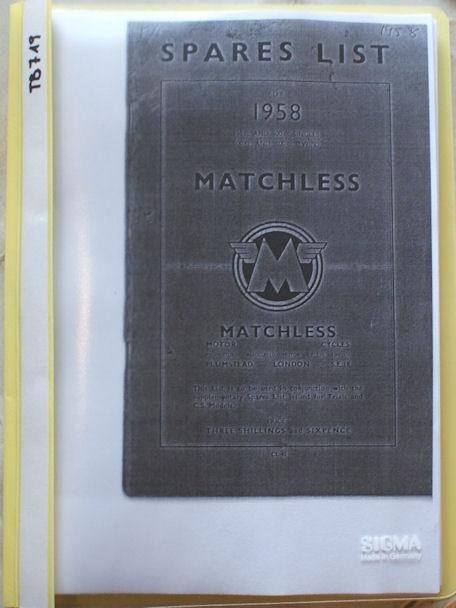 Matchless Spares List 1958, Copy