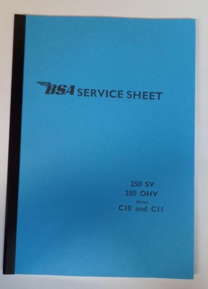 BSA C10 and C11 250 SV and 250 OHV Service Sheet / Instruction Book