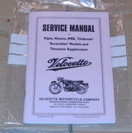 Velocette Workshop Manual Venom. Book.