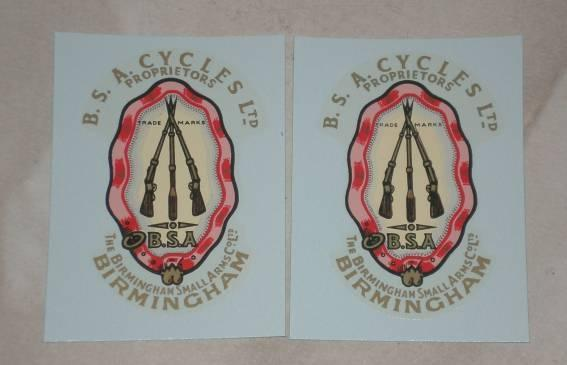 BSA Cycles Ltd. Transfer Pair -1953