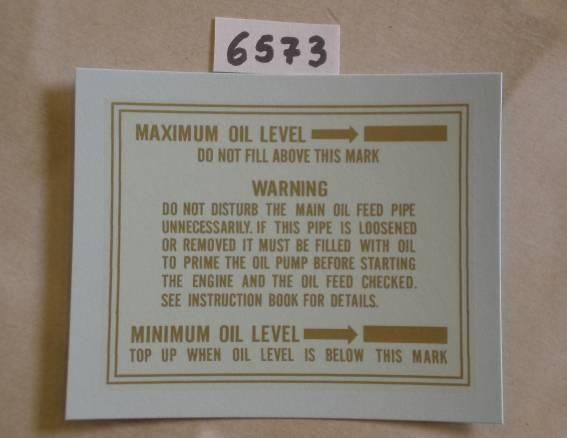 Velocette Transfer Minimum - Maximum Oil Level 1953/71