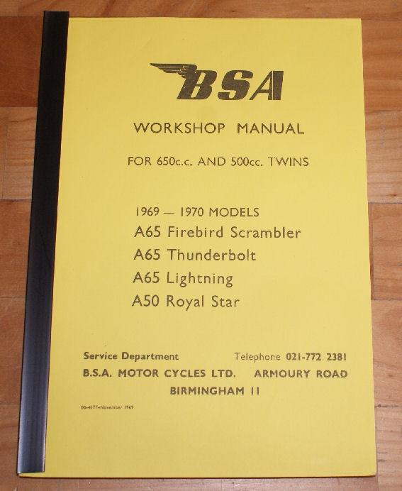 BSA Workshop Manual A50/A65 500/650cc 1969-70