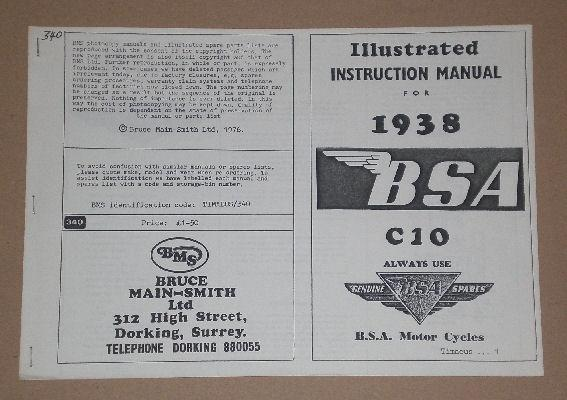 BSA Instruction Manual 1938 C10 /Illustrated