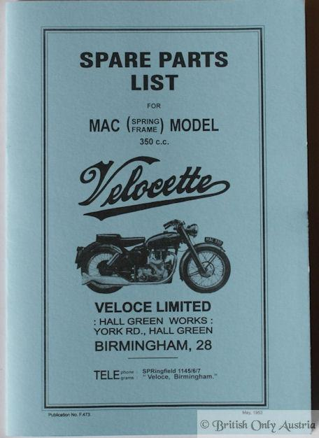 Velocette MAC (spring frame) Model 350cc Spare Parts List