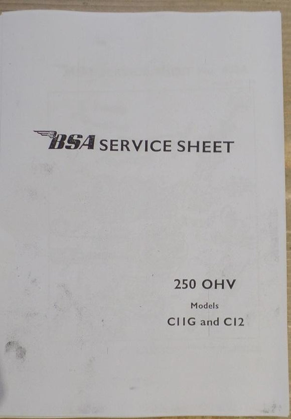 BSA Service Sheet 250 OHV C11G and C12/Copy