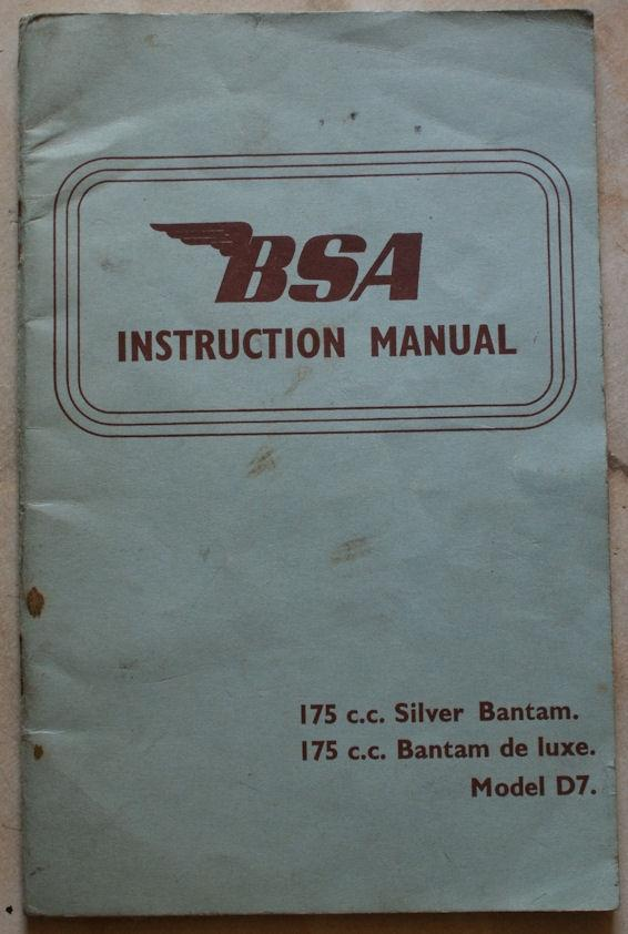 BSA Instruction Manual 175cc Silver Bantam / 175cc Bantam de luxe Model D7