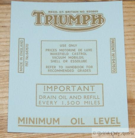 Triumph Transfer Set Model 3S, 3H, 5H, 6S, 5T 1937-52