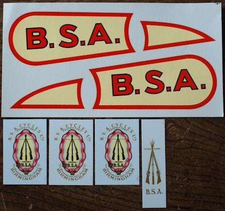 BSA Sloper OHV 1927-32 Transfer Set