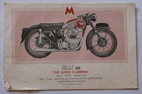 Matchless Model 9, The Super Clubman, Brochure