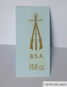 BSA Transfer for Rear Number Plate Bracket 150cc 1946-