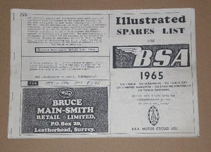 BSA Illustrated Spares List 1965 parts book