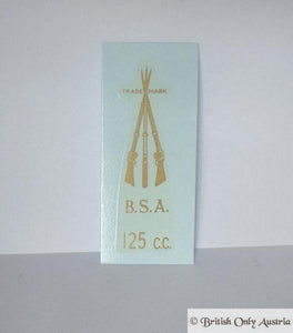 BSA Transfer for Rear Number Plate Bracket 125cc 1946-