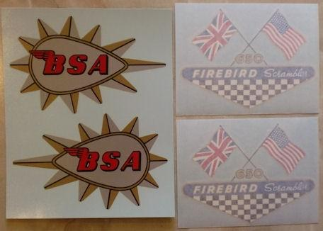 BSA Firebird Scrambler 650cc Transfer Set