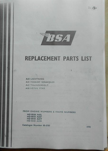 BSA Replacement Parts List 1970 Copy