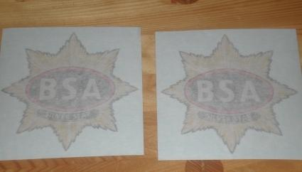 BSA Silver Star Tank Transfers pre 1939 /Pair
