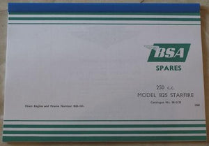 BSA B25 250cc Parts Book 1968