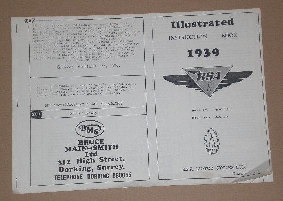 BSA Illustrated Instruction Book - 1939/BSA MOTOR CYCLES LTD. 250c.c S.V. Model C10, 250c.c O.H.V. M