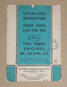 Villiers Instructions & Spare Parts list/Two Stroke Engines Mk. 24C & Mk. 25C
