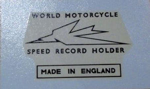 "Triumph ""World Motorcycle Speed Record Holder"" Transfer 1956 on"
