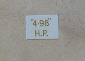 "BSA ""4.98"" H.P. Transfer for rear Number Plate 1934-36"