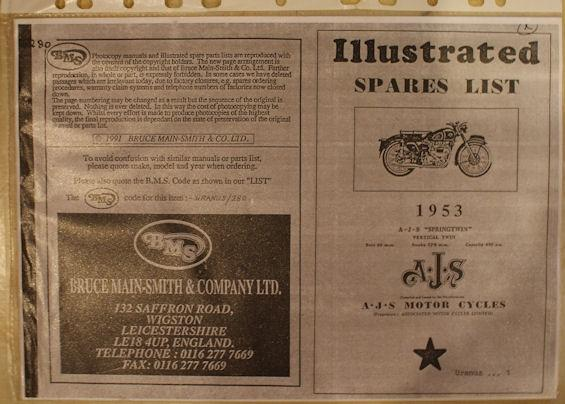 AJS Illustrated spares list 1953 A.J.S Springtwin