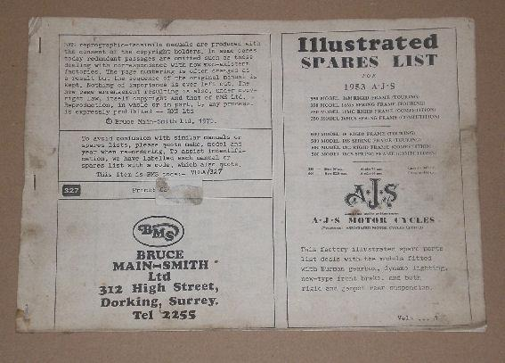 AJS Illustrated Spares List 1953 16M.16MS.16MC.16MCS.Mod.18.Mod.18S.Mod.18C.Mod