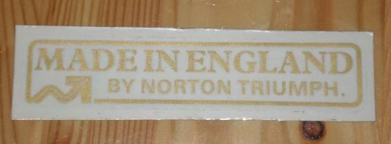 Made in England by Norton Triumph Transfer
