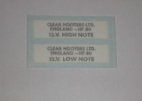 Triumph Daytona Clear Hooters Ltd H & L Note Sticker for Horn 1970's