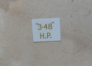 "BSA ""3.48"" H.P. Transfer for rear Number Plate 1927-36"