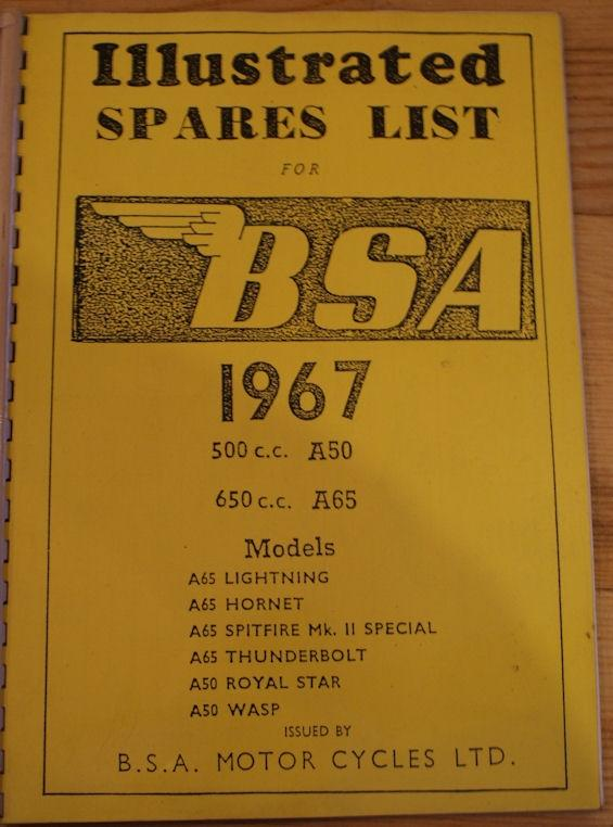 Illustrated Spares List for BSA 1967